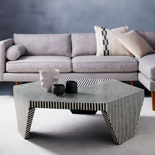 Bone Inlaid Faceted Coffee Table Living Room Coffee Table Coffee Table Furniture