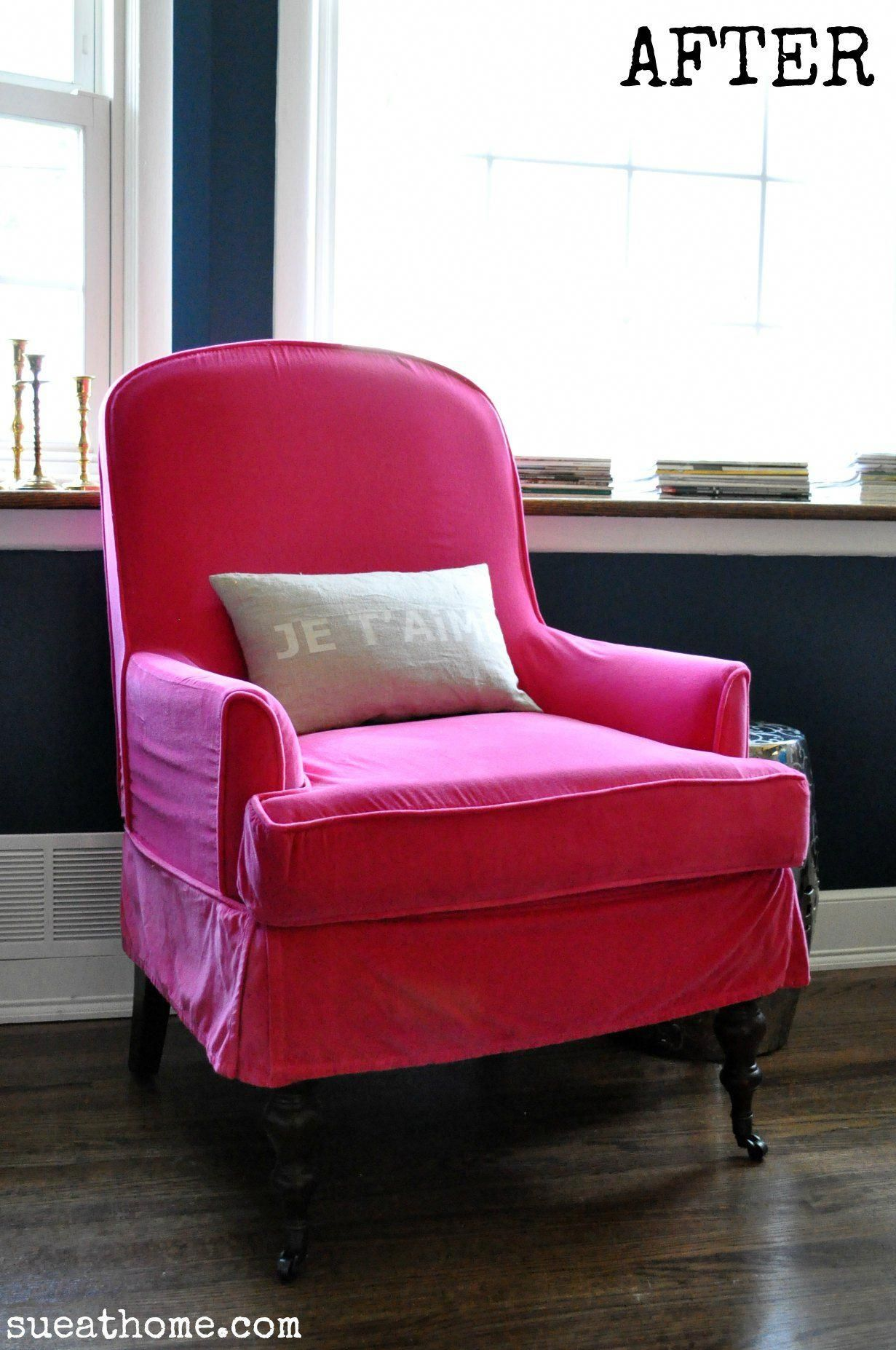 My new hot pink chair! See how I did it at