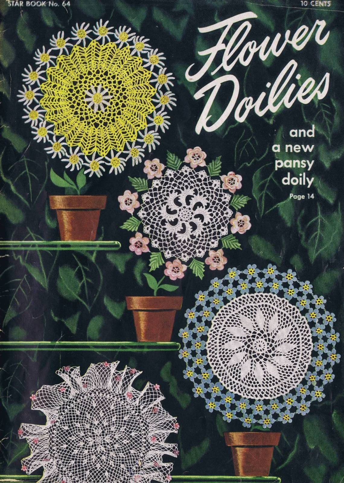 VINTAGE 40s CROCHET PATTERNS FLOWER PANSY RUFFLE TABLE DOILIES ...