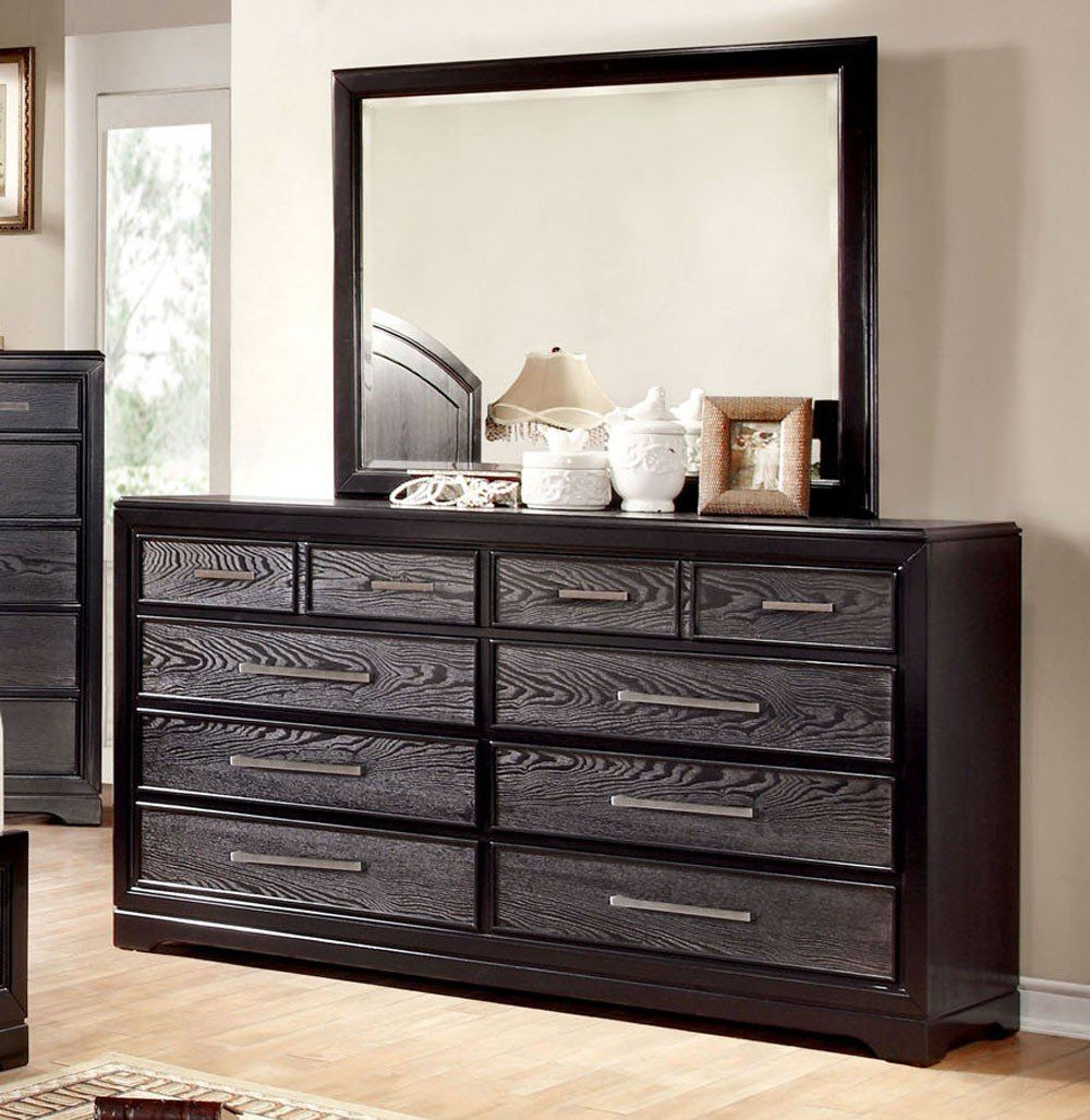 Two Tone Gray Black Wood Dresser