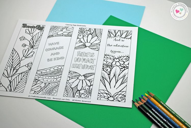 Coloring Pages Quotes For Adults : Free printable adult coloring page with bookmarks housewife