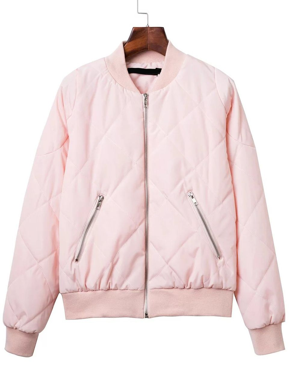 Pink Diamond Quilted Bomber Jacket With Zipper Shein Sheinside Black Bomber Jacket Women Quilted Bomber Jacket Casual Fall Jacket [ 1288 x 967 Pixel ]