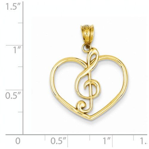 FB Jewels 14K Yellow Gold Clef Note Pendant