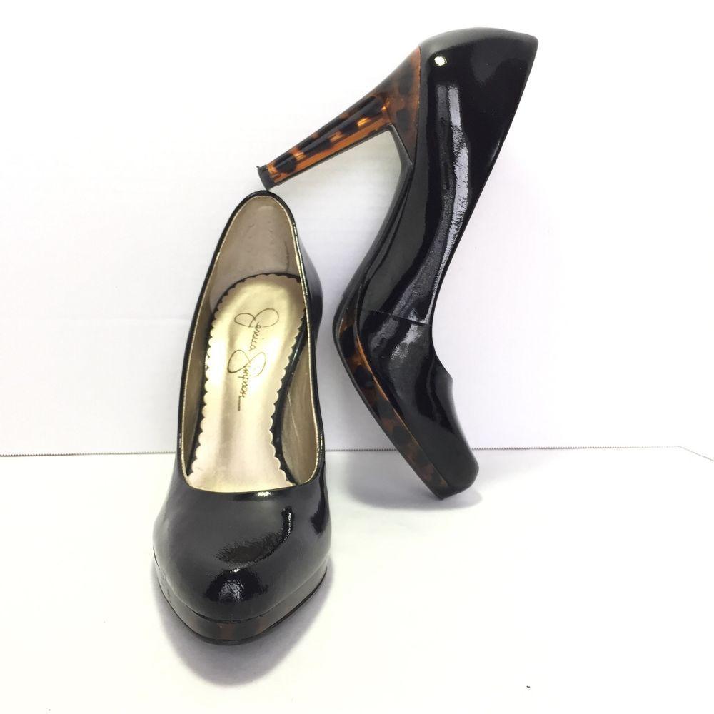 c08f22298095 Women s JESSICA SIMPSON Black Patent Leather Animal Print Heel Pumps Size  5.5 B  JessicaSimpson  PumpsClassics  Any