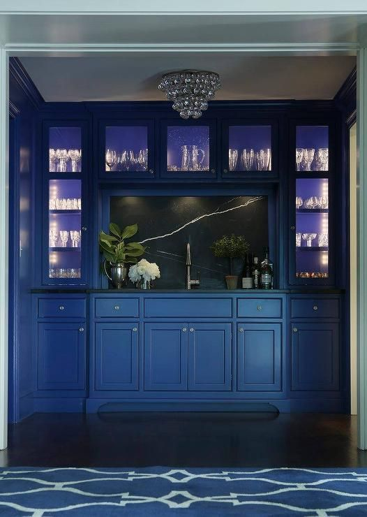 Blue Wet Bar Features Blue Cabinets Paired With Soapstone Countertops And  Backsplash.