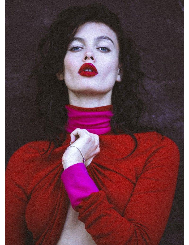 Fine Silk Blend Two Tone Turtleneck Liza - AmiAmalia