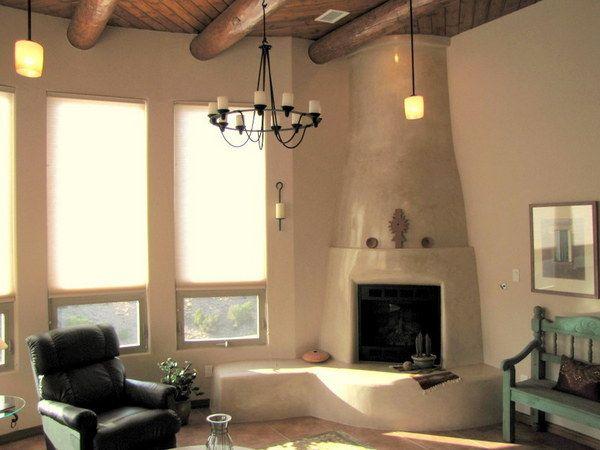 Southwest Kiva Fireplace W Diamond Plaster Finish Corner Gas Fireplace Southwest Interior Design Fireplace Facing