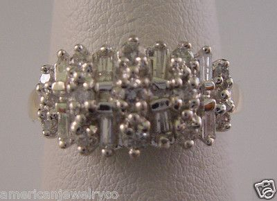 Ladies 1/2ct Diamond Baguette & Round Ring Wide Band in Solid 14k 2 Tone Gold