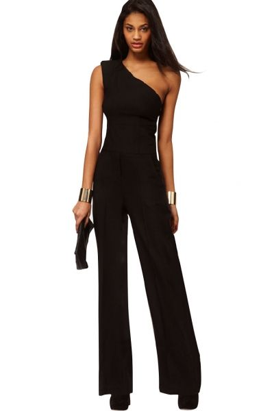 5e26030235f1c  Black One-Shoulder Wide Leg  Jumpsuit - OASAP.com ¯`•.❤ Final Clearance  before Christmas! FREE SHIPPING+Save 30%