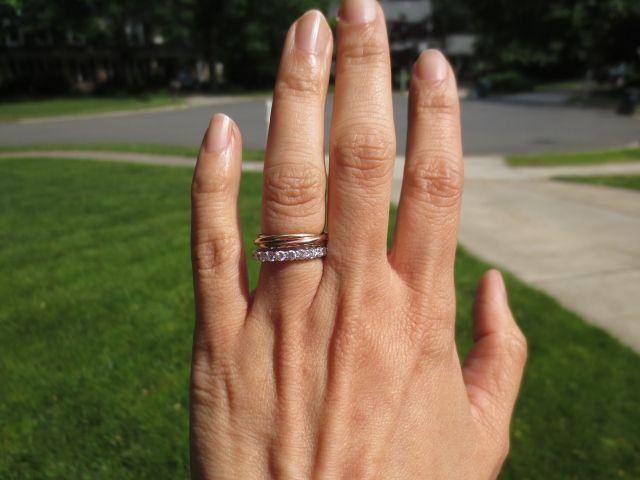 Show Your Cartier Trinity Paired With Eternity Band Cartier Love Ring Cartier Wedding Bands Eternity Bands