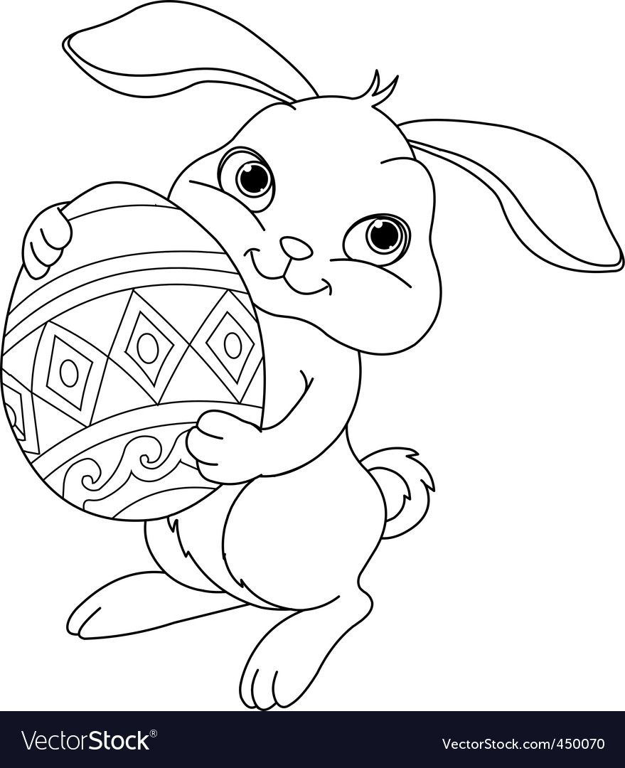 Illustration Of Happy Easter Bunny Carrying Egg Coloring Page Download A Free Preview Or High Quality Bunny Coloring Pages Easter Bunny Pictures Bunny Drawing