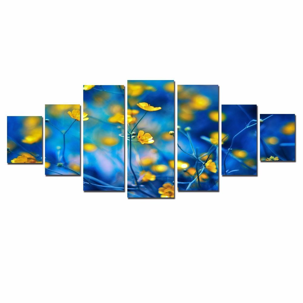Startonight huge canvas wall art yellow flowers blue framed set