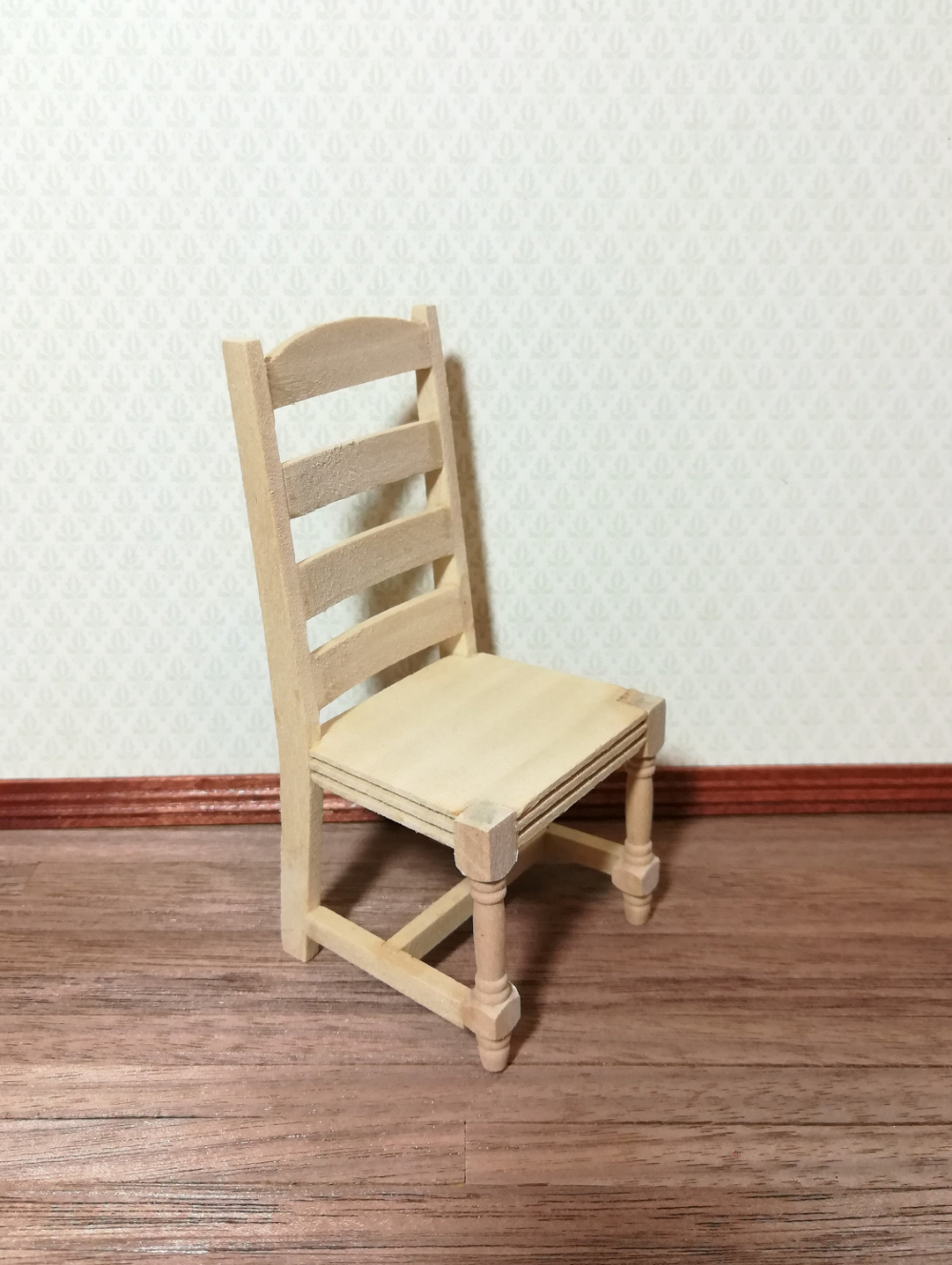 Dollhouse Miniature Rocking Chair 1:12 Scale Furniture Unfinished Wood