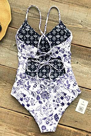 8a1dea21af6 CUPSHE Light Up The Night Print One-Piece Swimsuit Beach Swimwear Bathing  Suit at Amazon Women's Clothing store:
