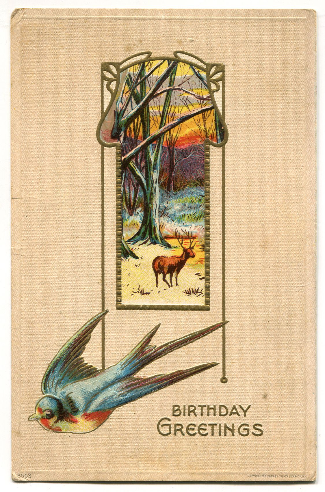 16 antique post card 1909