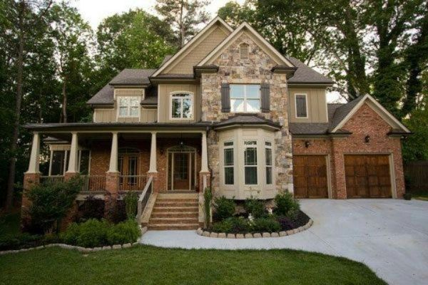 Nice exterior paint color schemes with orange / red brick  Warm medium golden browns with