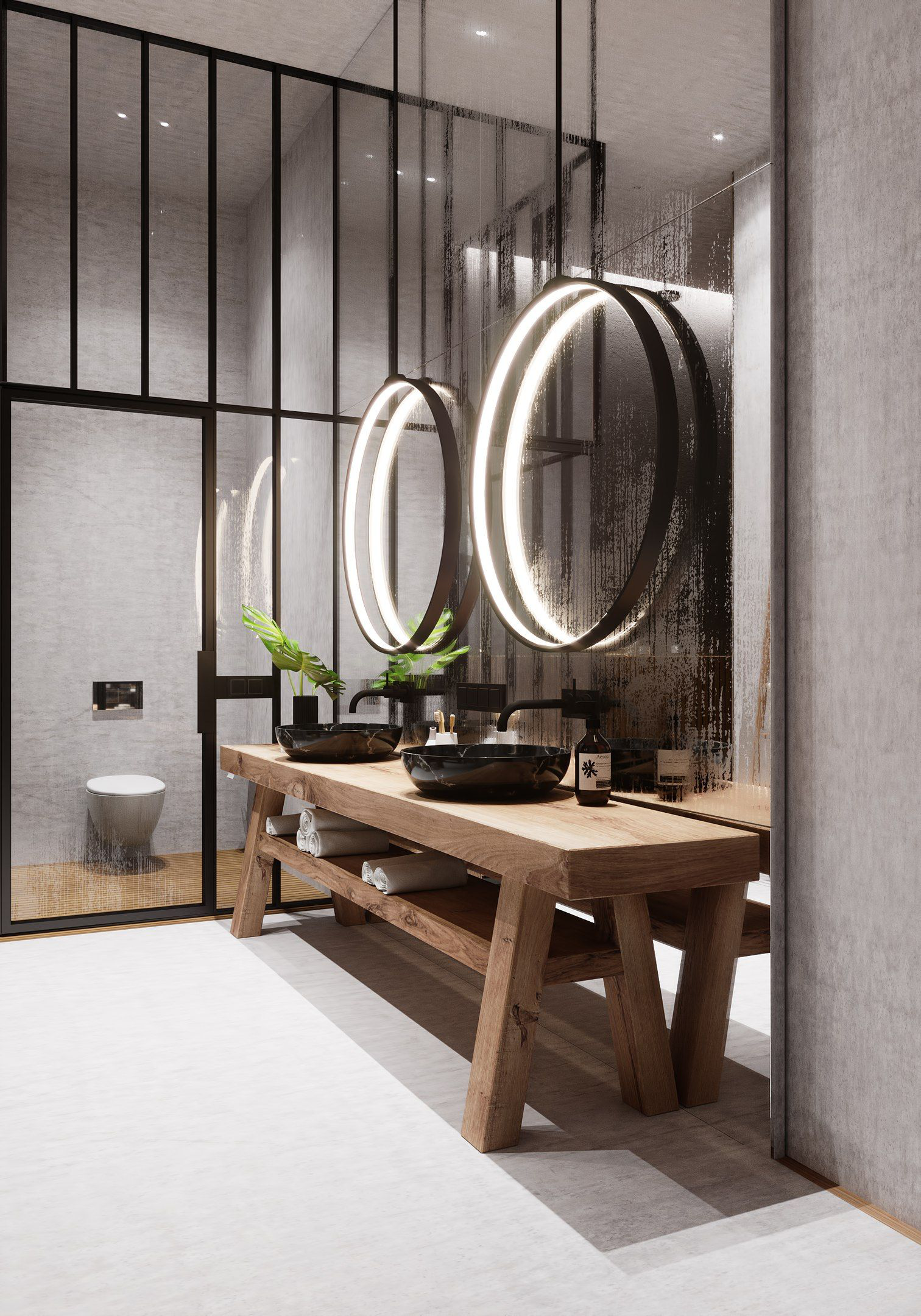 Modern Look In This Bathroom With These Simple Rings Of