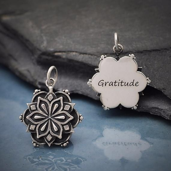 Photo of Gratitude Mandala Charm, Sterling Silver Necklace Pendant, DIY Jewelry, add to y…