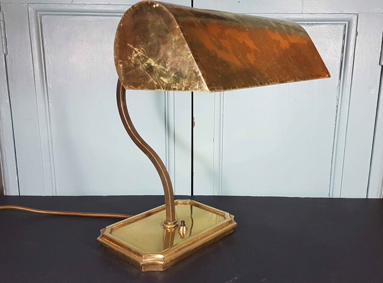 Art Deco Brass Desk Lamp Vintage Brass Bankers Lamp Vintage Desk