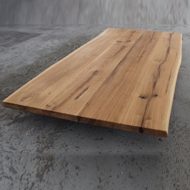Tischplatte Eiche Baumkante Massivholz Geolt Tisch Eiche Geolt