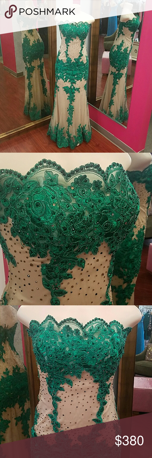 Sz M strapless prom dress green nude Nude Strapless dress with green appliqu?s.  Has rhinestones all over. Dresses Prom