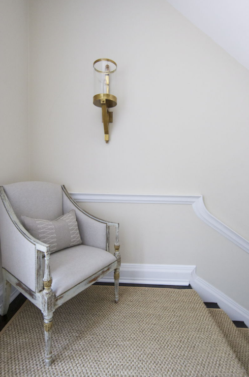 Morrison Fairfax Interiors Chic Second Floor Landing With Ivory Walls Paint Color Gray Antique French Chair Bound