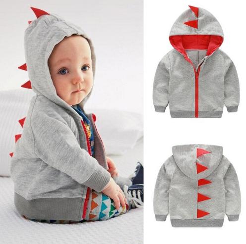Dealone Baby Boy Zip Front Hoodie Sweathshirt Toddler Dinosaur Jacket Clothes