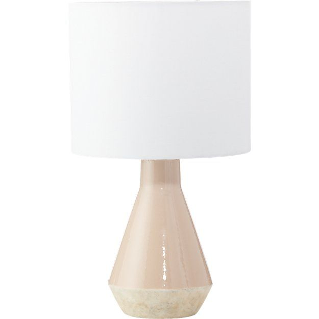 Cb2 emmie pink table lamp blush pink ceramic base white linen shade small