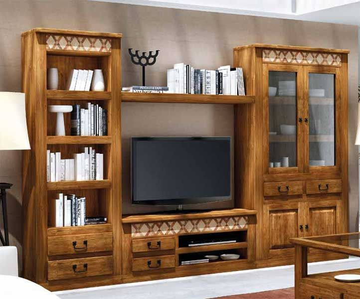 Modular r stico para tv con tres muebles y repisa sobre for Muebles de salon rusticos