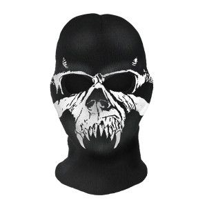 Black with white print Danzig ski mask with two holes at eyes ... b974613ef200