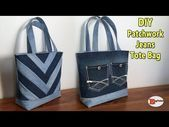 DIY PATCHWORK JEANS TOTE BAG  TOTE BAG  JEANS BAG  RECYCLE JEANS IDEAS DIY BAG SEWING TUTORIAL This image has get 1 repins Author Flunker Klunker