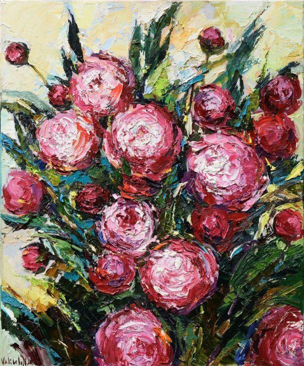 Buy Peonies Floral Impasto Painting, Oil Painting By Anastasiya Valiulina  On Artfinder. Discover Thousands