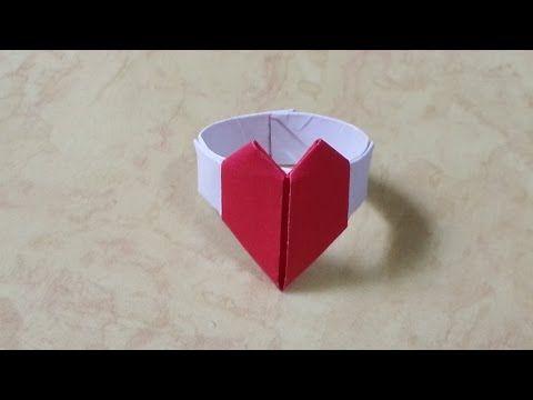 332 쉬운 종이접기 (하트 반지)  쉬운 색종이접기  Easy  Origami  折纸 оригами 摺紙  折り紙  اوريغامي - YouTube