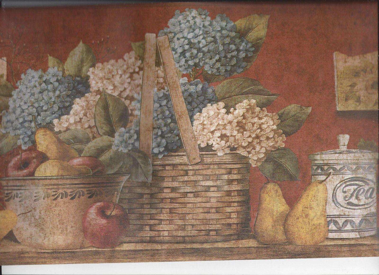 Details over KITCHEN BASKET FRUIT FLOWERS POTTERY