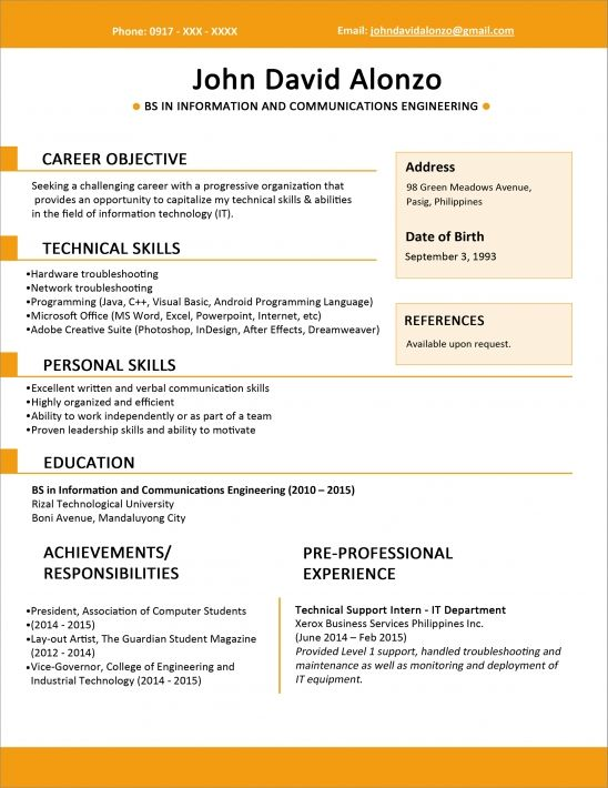 Sample Resume Format For Fresh Graduates One Page Format Job Resume Format Sample Resume Templates Resume Skills