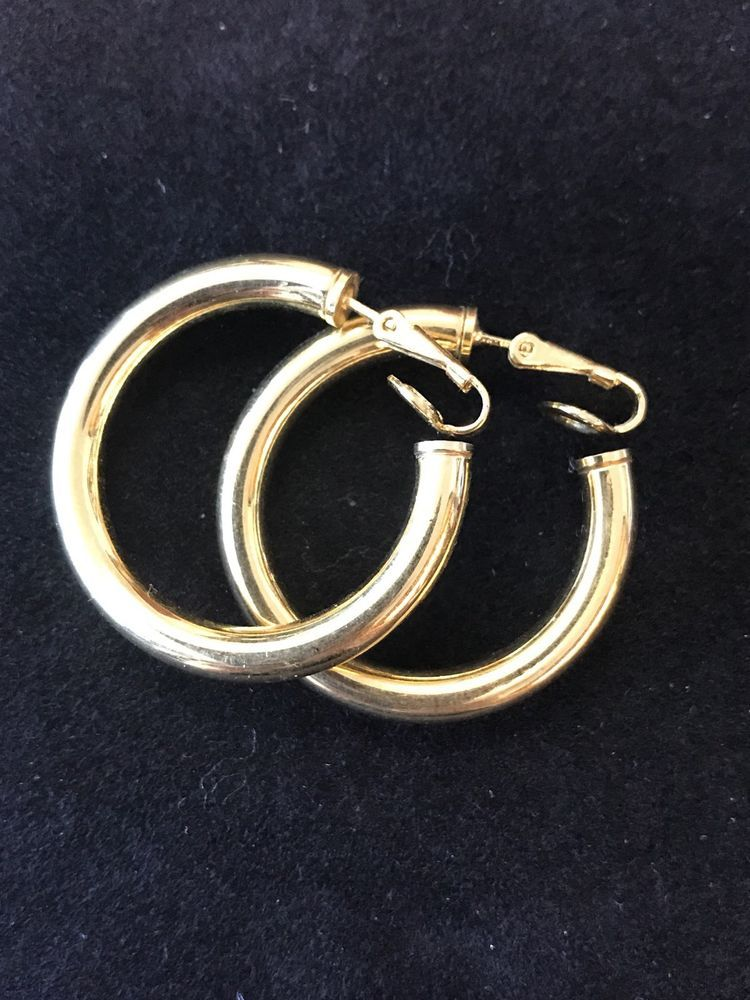 4ab9a0acd1738 Vintage Signed Crown Trifari Clip On Hoop Earrings Gold Tone Hollow ...
