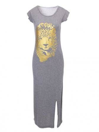 Woman Gold Stamp Tiger Pattern Short Sleeve Split Long Dress