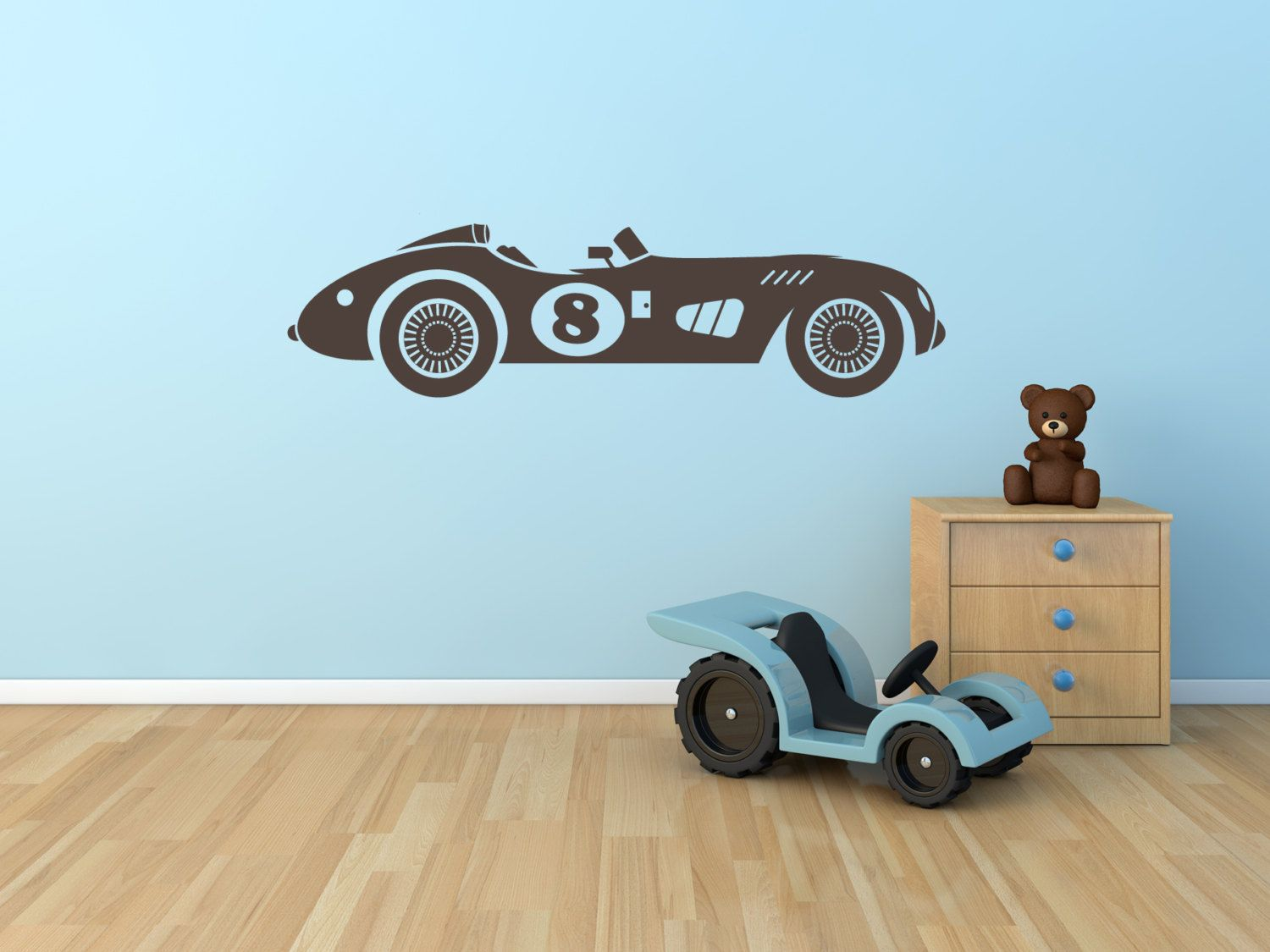 Race Car Wall Decal Vintage Race Car for Boys or Childs ...