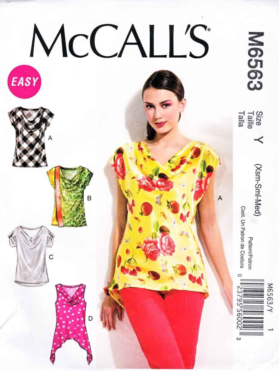 662cd4269ee1c3 McCalls Sewing Pattern 6563 Misses Size 4-14 Easy Pullover Cowl Neck Cap  Sleeve Top
