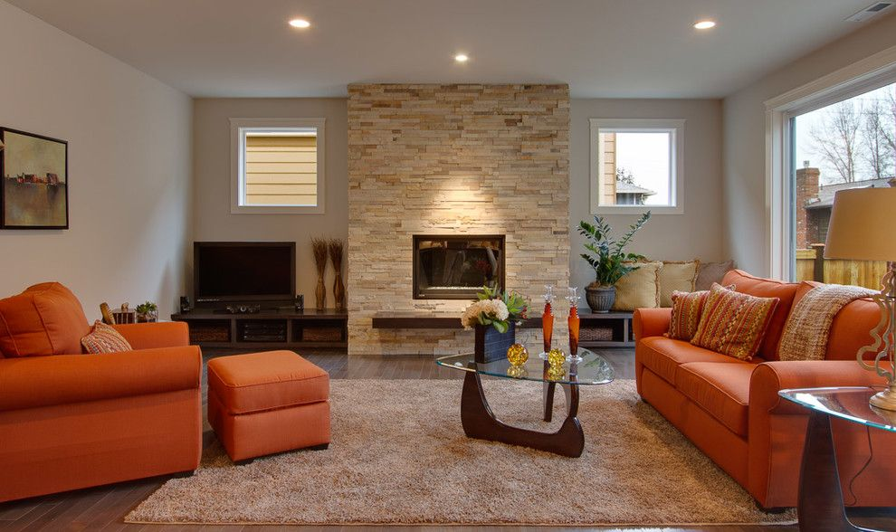 Stunning Stacked Stone Fireplace Also Love The Glass Topped