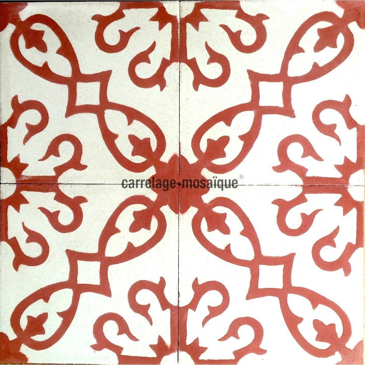 Carrelage En Ciment Sol Et Mur 1m2 Modele Bess Rouge Carrelage