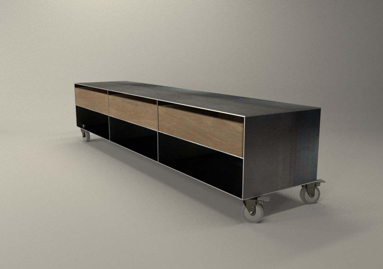 Design Metallmoebel Tv Sideboard Mit Rollen Kaminholzaufbewahrung