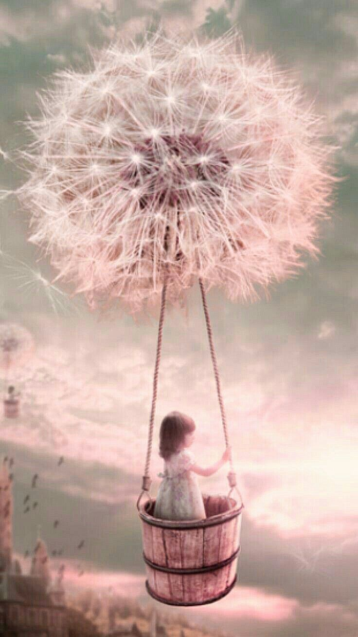 The thought of being carried away by a Dandelion-wish... Would be a sweet little girl bedroom theme.