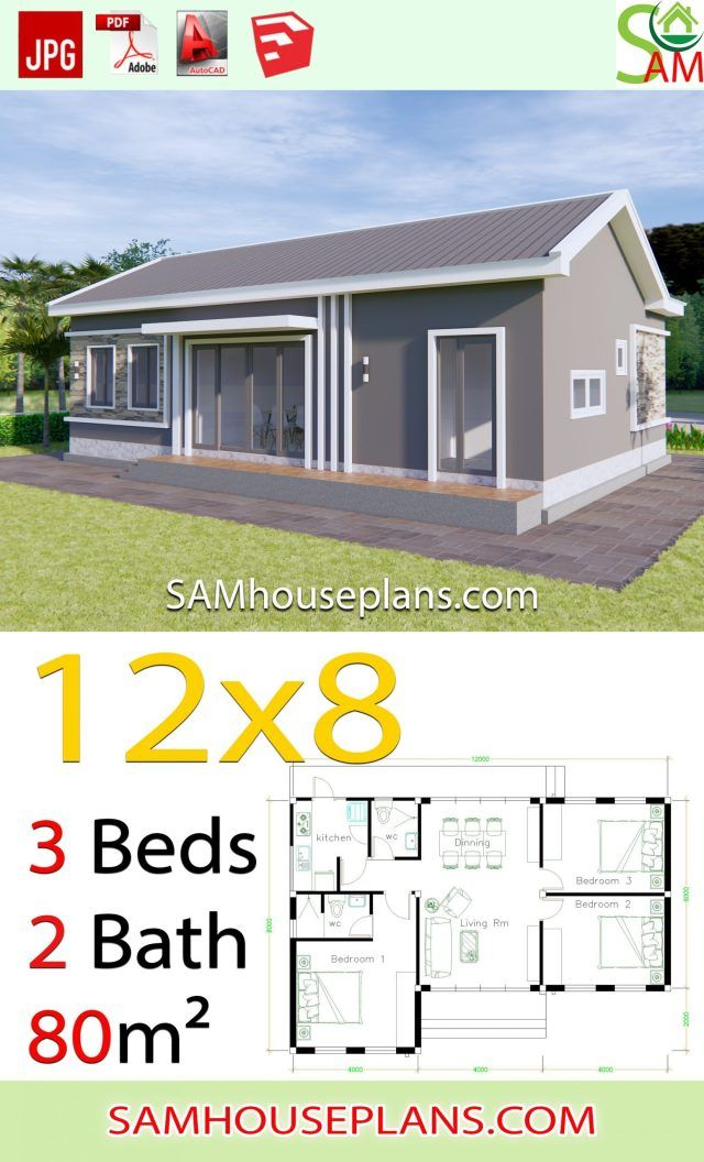 House Plans 12x8 With 3 Bedrooms Gable Roof In 2020 House Plans Bungalow House Design Gable Roof