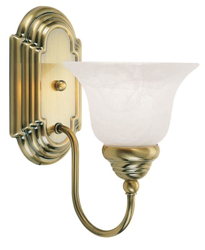 Livex Lighting 1001 Belmont 1 Light Bathroom Sconce Antique Brass Indoor Lighting Bathroom Fixtures Bathroom Sconce