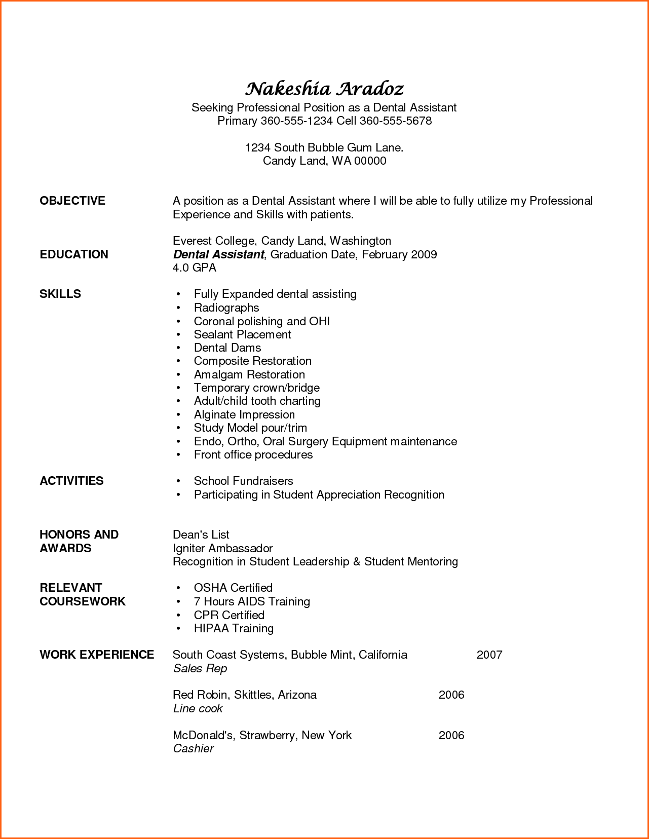 Resume Examples Skills Mesmerizing Dental Assistant Resume Examples Event Planning Template Review