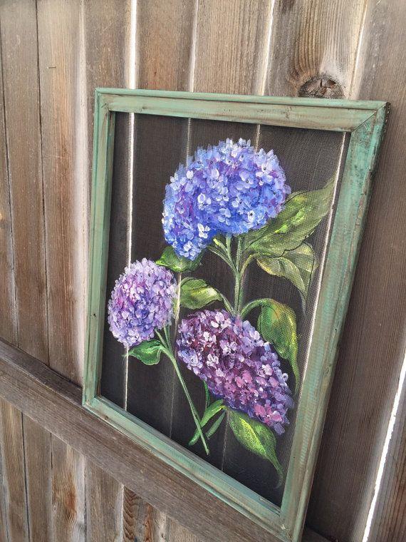 Purple Hydrangea Flower Window Screen Art Hand Painting Flower Recycled Frame Window Screen Crafts Flower Painting Window Art