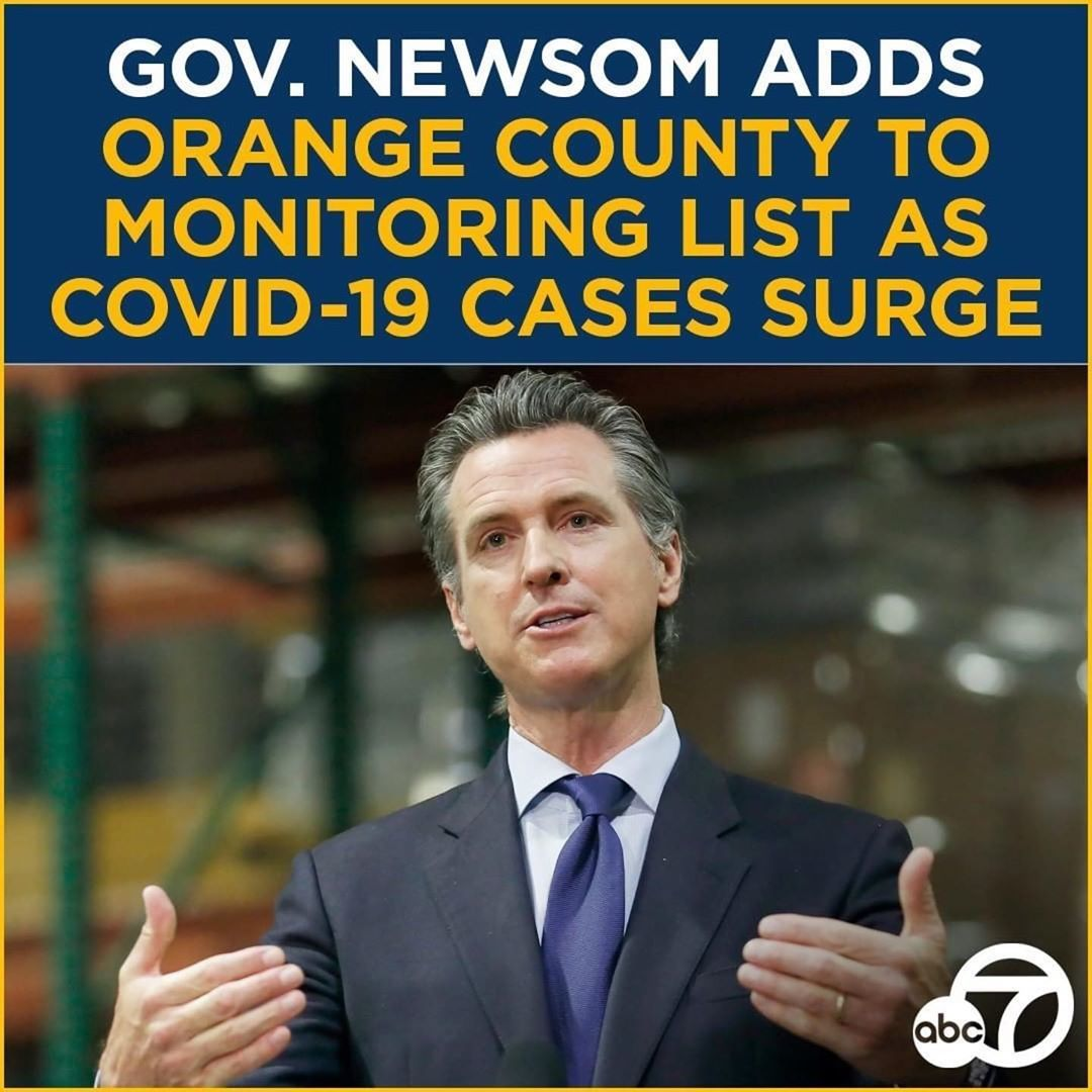 """Downtown Santa Ana's Instagram post: """"BREAKING: Gov. Gavin Newsom has announced an additional four counties, including #OrangeCounty, are being closely monitored for worsening…"""""""