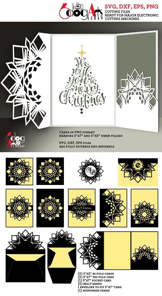 10 Snowflake Christmas Card Templates Digital Cut SVG DXF Wedding ...