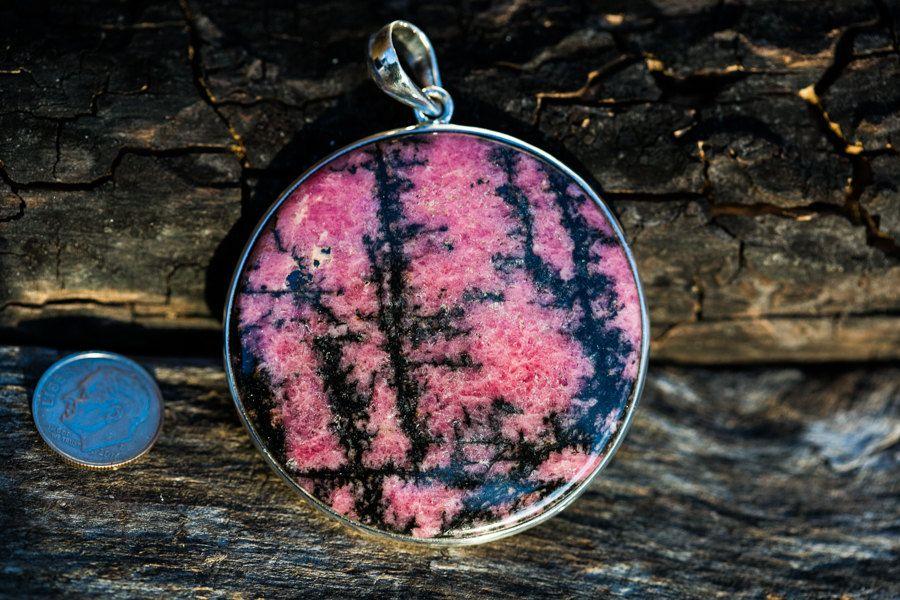 Rhodonite Pendant - Rhodonite Necklace - Rhodonite Jewelry - Rhodonite Pedant - Pink Necklace - Rhodonite Pendant - Rhodonite Necklace
